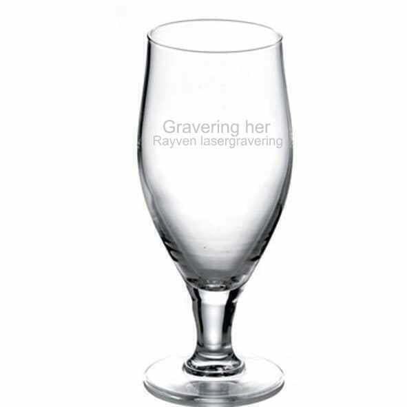 graveret ølglas gave