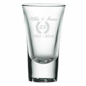 Shotglas-Sølvbryllups gave